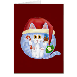Bauble Cat Christmas Greeting Card