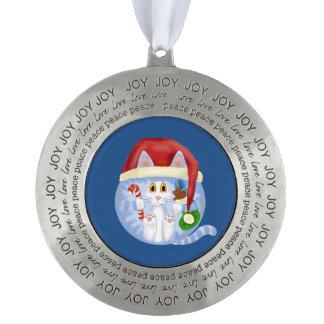 Bauble Cat Christmas Pewter Ornament