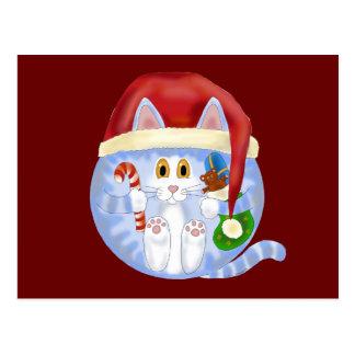Bauble Cat Christmas Postcard