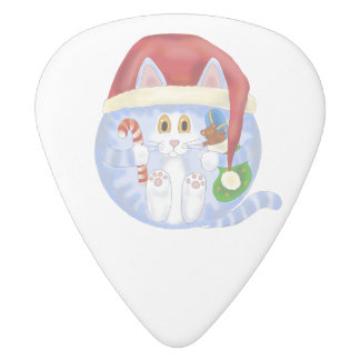 Bauble Cat Christmas White Delrin Guitar Pick