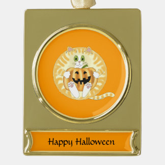 Bauble Cat Halloween Gold Plated Banner Ornament