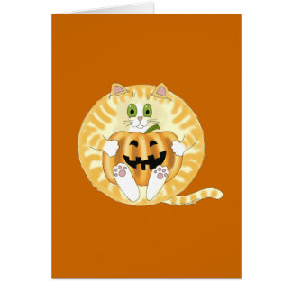 Bauble Cat Halloween Greeting Card