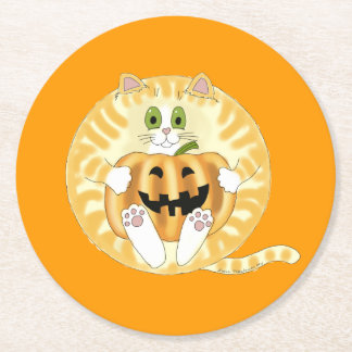Bauble Cat Halloween Round Paper Coaster