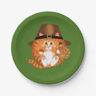 Bauble Cat Thanksgiving 7 Inch Paper Plate