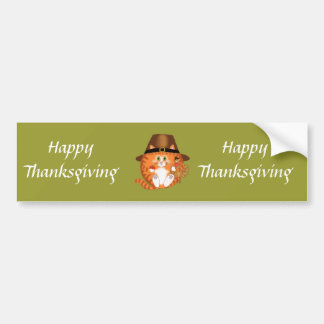 Bauble Cat Thanksgiving Bumper Sticker