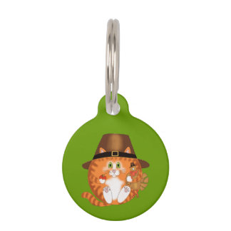 Bauble Cat Thanksgiving Pet Name Tag