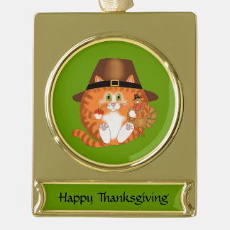 Bauble Cat Thanksgiving Gold Plated Banner Ornament