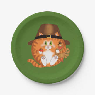 Bauble Cat Thanksgiving Paper Plate