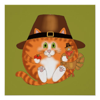 Bauble Cat Thanksgiving Poster