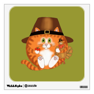 Bauble Cat Thanksgiving Wall Decal