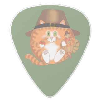 Bauble Cat Thanksgiving White Delrin Guitar Pick