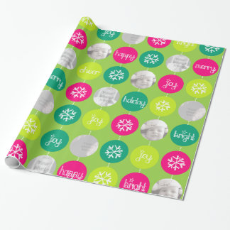 Bauble green pattern Christmas family photo Wrapping Paper