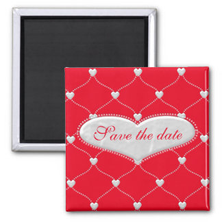 bauble hearts - save the date cards and more 2 inch square magnet