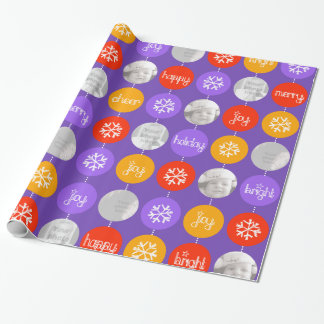 Bauble purple orange pattern Christmas photo Wrapping Paper