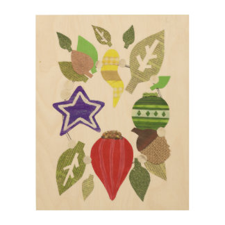 Bauble Wreath Wooden Canvas Wood Print