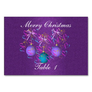 Baubles Bows and Hearts Numbered Table Card