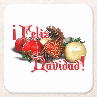 Baubles & Pine Cones - Feliz Navidad Square Paper Coaster