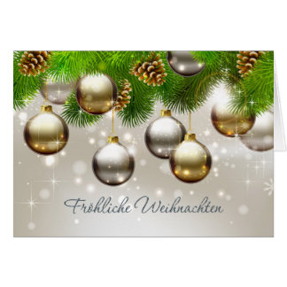 Baubles, pine, cones German Christmas Card