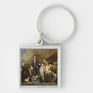 Baudin on the Barricade of Faubourg Silver-Colored Square Keychain