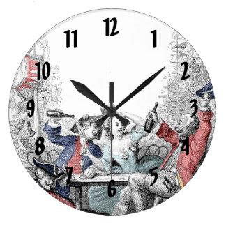 Baudy Minutemen At the Local Pub Large Clock