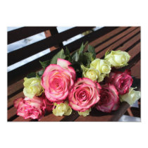 Bauguet of Roses Pink and Yellow Invitation