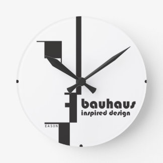 BAUHAUS Inspired Design Classic Line-Face Icon Round Wall Clock