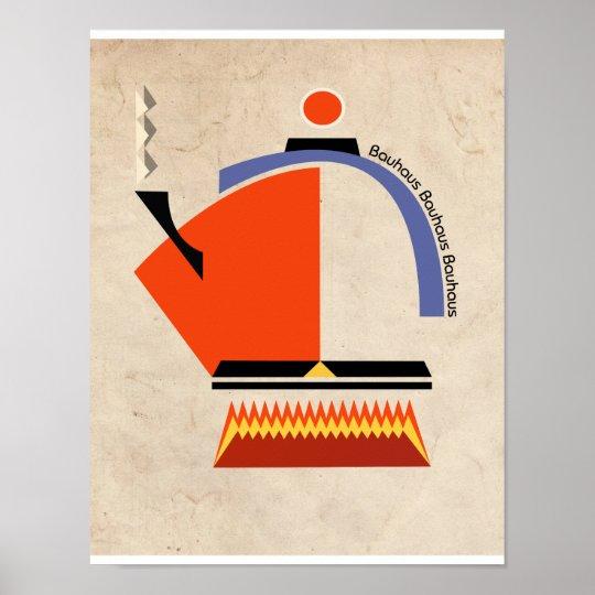 Bauhaus Tea Pot Mid Century Art Poster