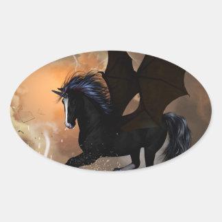 Bautiful dark unicorn oval sticker