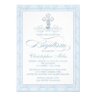 """Bautismo azul de la cruz del damasco invitación 4.5"""" x 6.25"""""""
