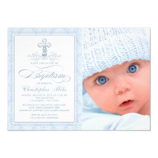"""Bautismo azul de la foto del muchacho de la cruz invitación 4.5"""" x 6.25"""""""