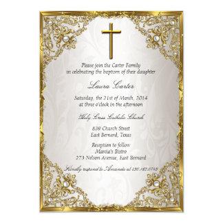 """Bautismo/bautizo beige de la cruz del damasco de invitación 5"""" x 7"""""""
