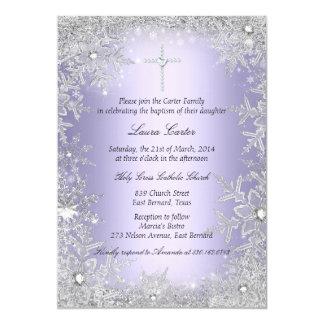"""Bautismo/bautizo cristalinos púrpuras del copo de invitación 5"""" x 7"""""""
