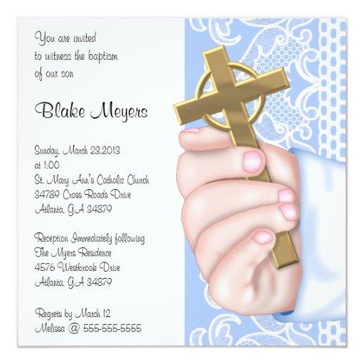 """Bautismo/bautizo cruzados azules elegantes simples invitación 5.25"""" x 5.25"""""""