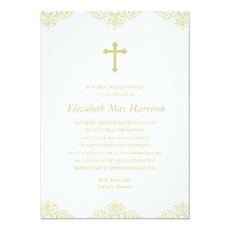 Bautismo/bautizo cruzados del oro invitación 12,7 x 17,8 cm