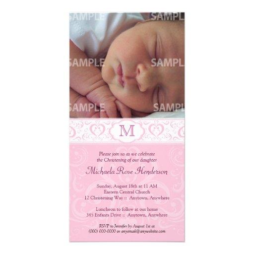 Bautismo/bautizo rosados del monograma del damasco tarjetas personales con fotos