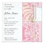Bautismo/bautizo rosados elegantes simples del invitación 13,3 cm x 13,3cm