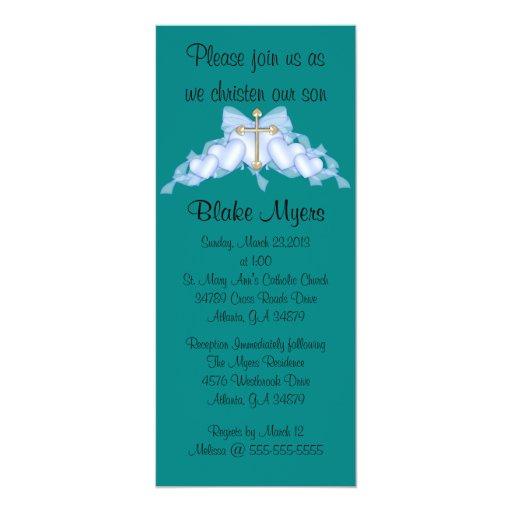 Bautismo cruzado azul elegante elegante/bautizo comunicado personalizado