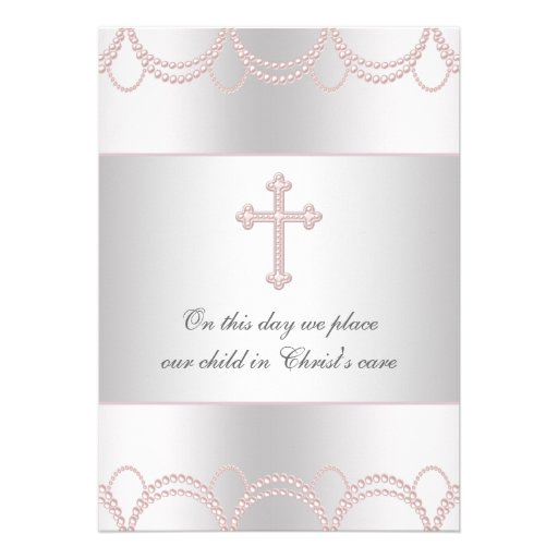 Bautismo cruzado rosado del bautizo de la niña comunicados personalizados