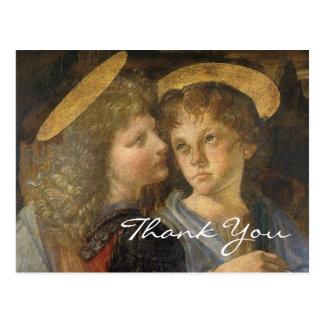 Bautismo de Cristo (ángeles) por Leonardo da Vinci Tarjeta Postal