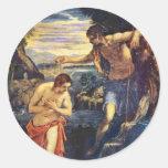 Bautismo de Cristo de Tintoretto Jacopo (el mejor  Pegatinas Redondas