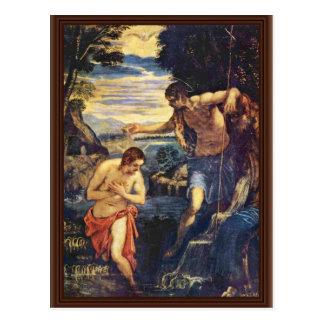 Bautismo de Cristo de Tintoretto Jacopo (el mejor  Tarjeta Postal