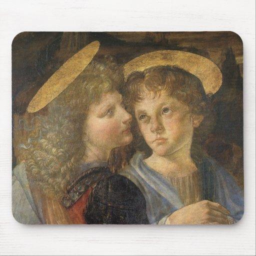 Bautismo de Cristo, detalle del ángel, Leonardo da Tapete De Ratón