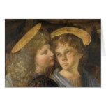 Bautismo de Cristo, detalle del ángel, Leonardo da Tarjetón