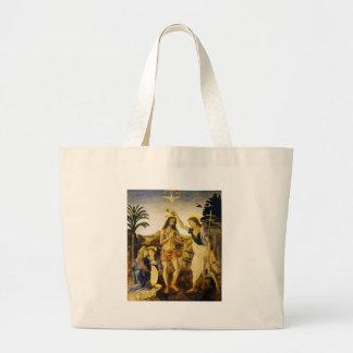 Bautismo de Cristo por da Vinci y Verrocchio Bolsa Tela Grande