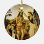 Bautismo de Cristo por da Vinci y Verrocchio Adorno Redondo De Cerámica