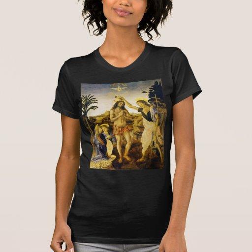 Bautismo de Cristo por da Vinci y Verrocchio Playera