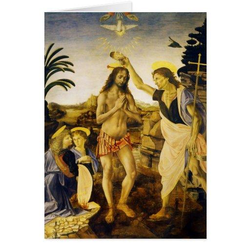 Bautismo de Cristo por da Vinci y Verrocchio Tarjetón