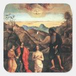 Bautismo de Juan Bellini- de Cristo, Altarpiece Pegatina Cuadradas Personalizada
