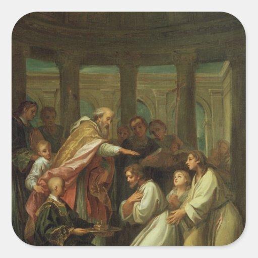 Bautismo de St Augustine Pegatina Cuadrada