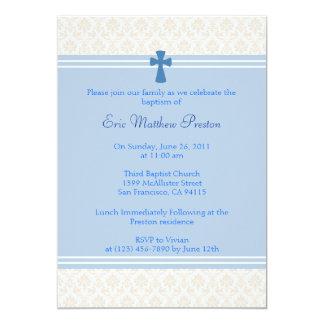 """Bautismo del damasco/invitación azules del bautizo invitación 5"""" x 7"""""""
